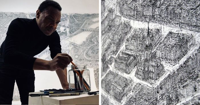 We Carefully Hand-Sketched The Entire City Of Perth, Scotland To The Smallest Detail