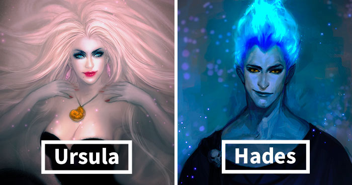 Artist Shows How Disney Villains Would Look If They Were The Main Characters