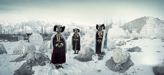 Mujeres Perak, Monasterio Thikse, Ladakh, India