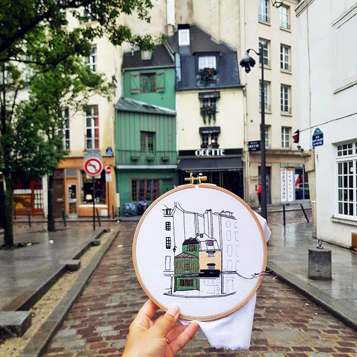 Traveling Couple Recreate The Architecture Of European Cities With Charming Embroidery