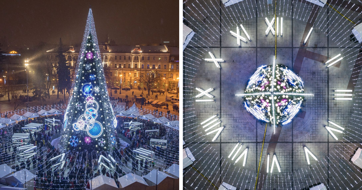 Vilnius Starts The Countdown To Christmas By Lighting A Spectacular Clock-Inspired Christmas Tree