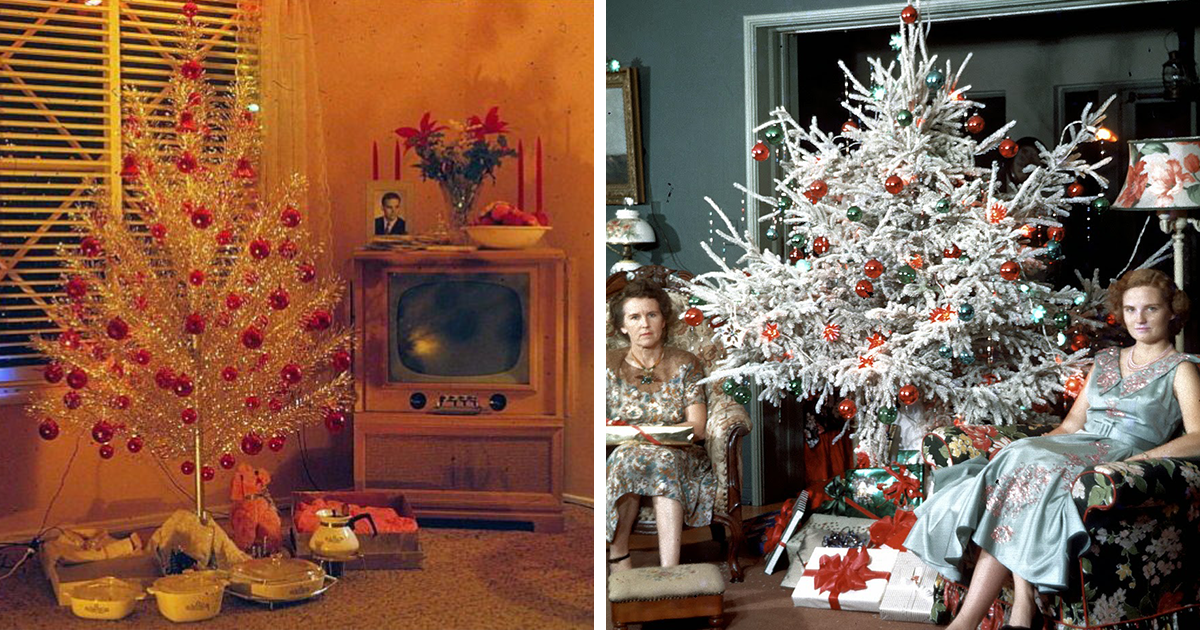 50 photos of christmas home decor in the 1950s and 1960s - Christmas house decorations inside ...
