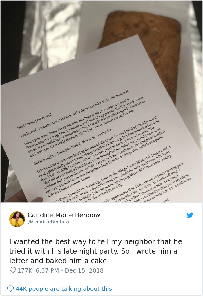 Woman Tired Of Her Loud Neighbor Writes A Hilarious Letter