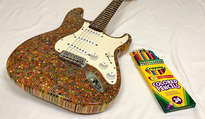 Guy Spends $500 To Build An Epic Custom Guitar Out Of 1200 Pencils, Shows How He Did It