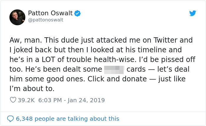 Patton Oswalt Gets Attacked By Troll On Twitter Turns His Life