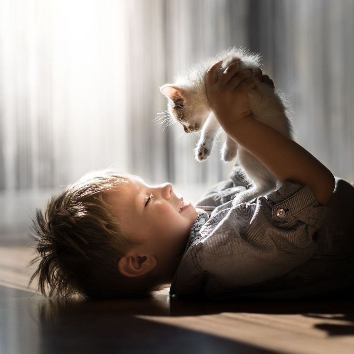 I Photographed The Beautiful Bond Between My Son And Our Cats