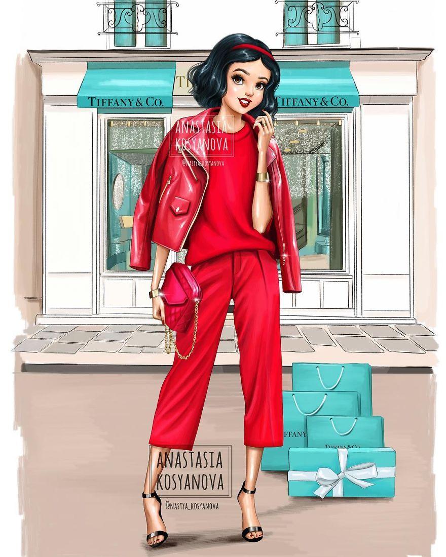 Ana Stasia & Co russian fashion illustrator shows how disney princesses
