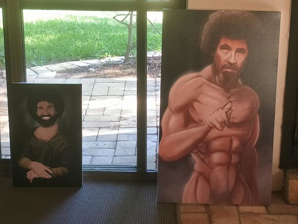 My Sister And I Painted Each Other Bob Ross For Christmas, Turns Out We Have A Similar Sense Of Humor...
