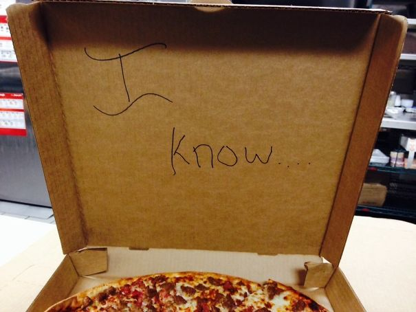 "Customer Asked Me To Write ""I Love You"" On The Pizza Box. Wrote This On The Inside"