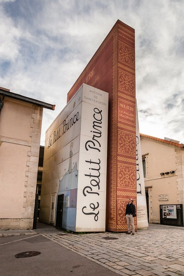 Gigantic Books At The Entrance Of A Public Library In France