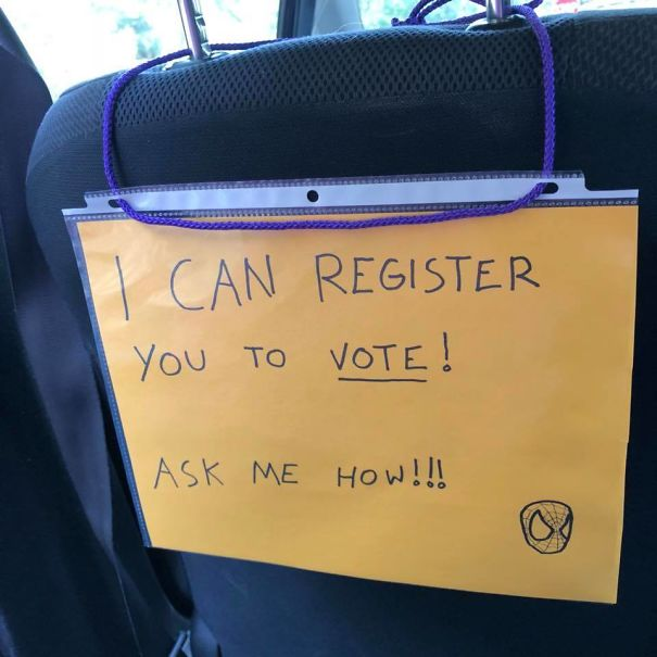 My Friend Is A Lyft Driver And Turned His Car Into A Voter Registration Booth