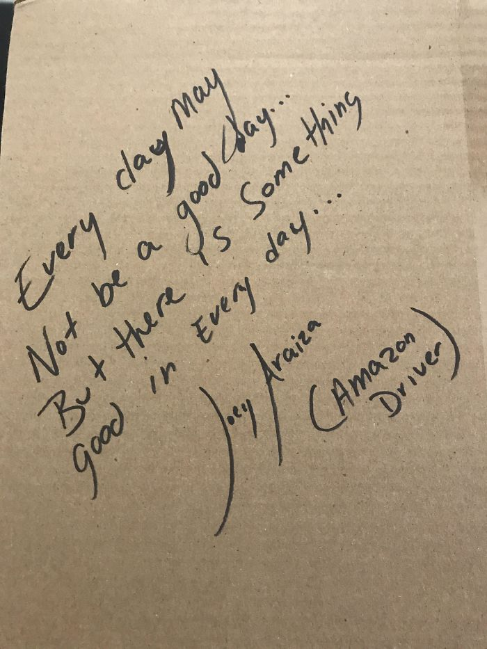 Amazon Driver Left A Positive Note On My Box