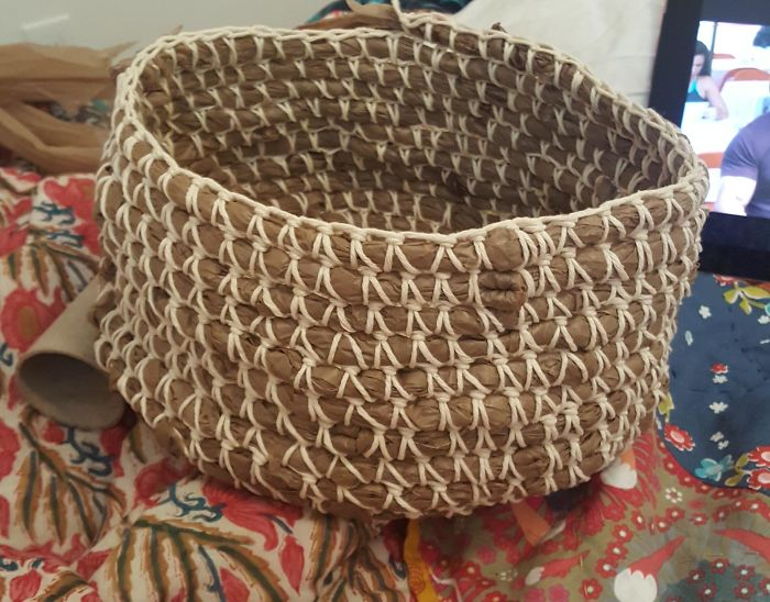 I Started Making A Basket Out Of All Of The Plastic Bags I've Been Hoarding