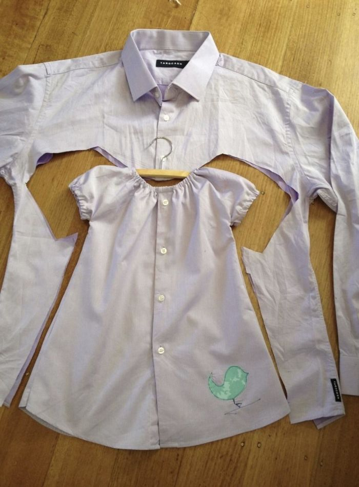 Make A Baby Dress Out Of An Old Button-Up Shirt
