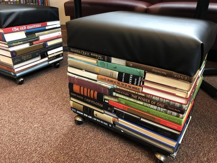 Had A Volunteer Help Me Make These Stools Out Of Our Discarded Books For New Library Seating