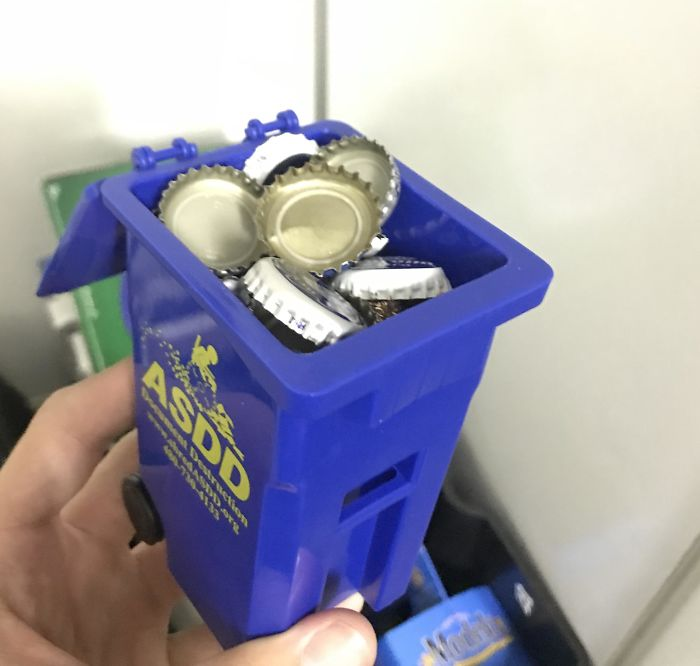 Went To A Party That Had A Big Recycling Can For Bottles, And A Small Recycling Can For Bottle Caps