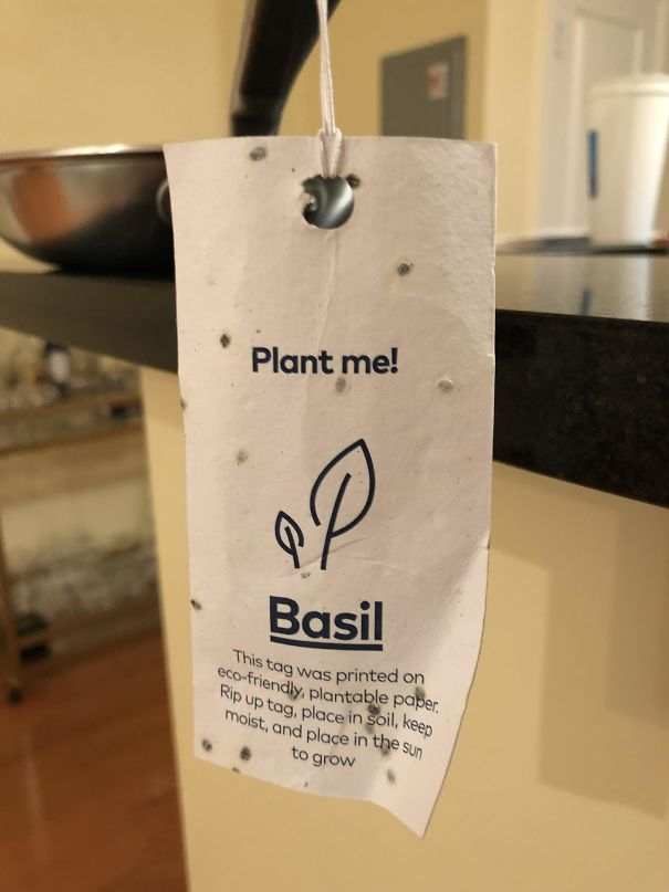 The Paper Tag Attached To My New Pan Can Be Planted To Grow Herbs