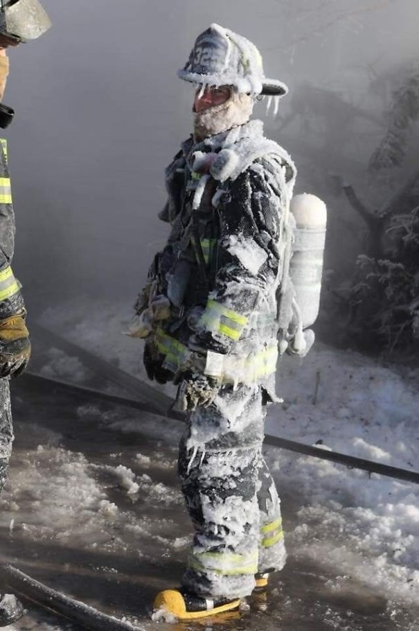 A Firefighter After Working In The -40° Polar Vortex