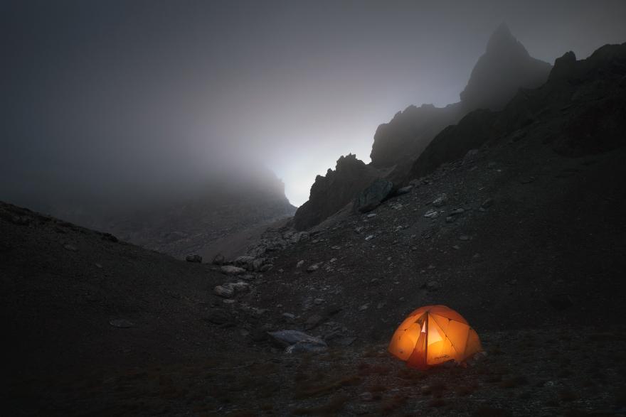Beneath Misty Peaks