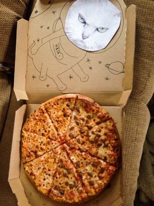 Nolan Asked The Pizza Delivery Guy To Draw A Space Cat On The Pizza Box