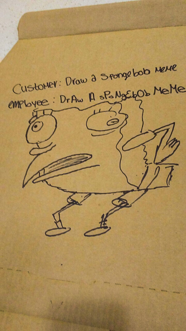 I Work At Domino's And Was Asked To Draw A Spongebob Meme