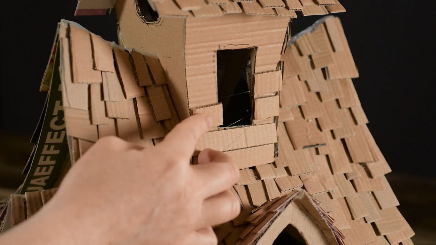 I Upcycled Cardboard Boxes Into A Witch House And It Cost Me