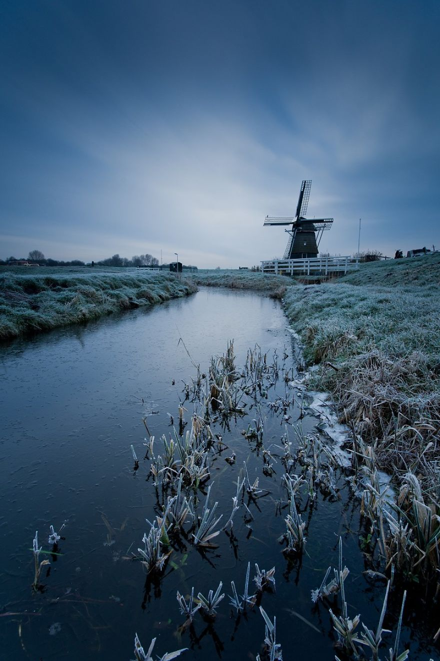 Very Cold And Cloudy Sunrise In Haarlem