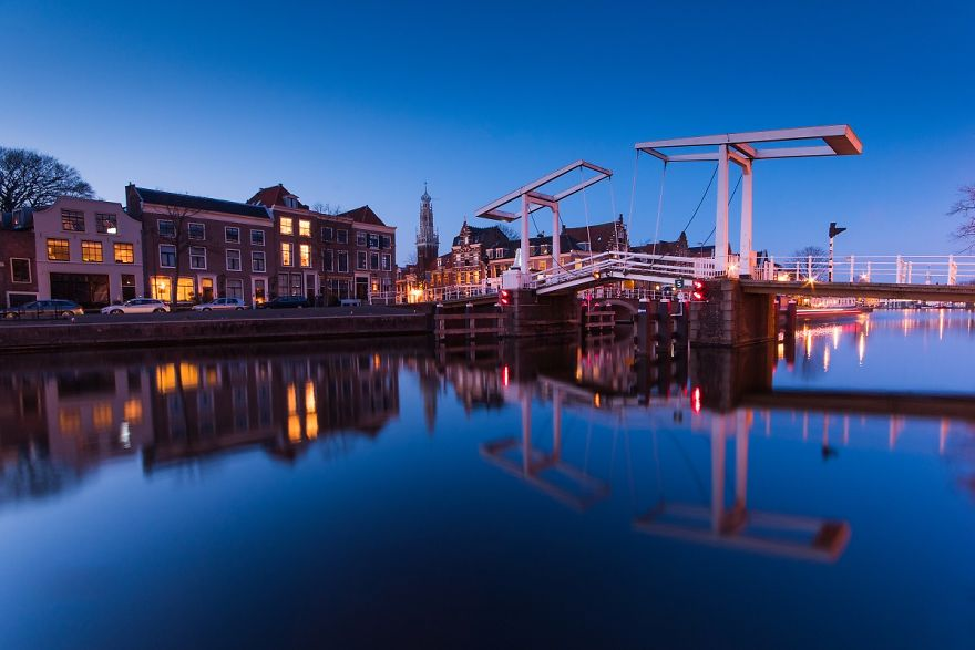 Haarlem And Its Reflection In The Spaarne River