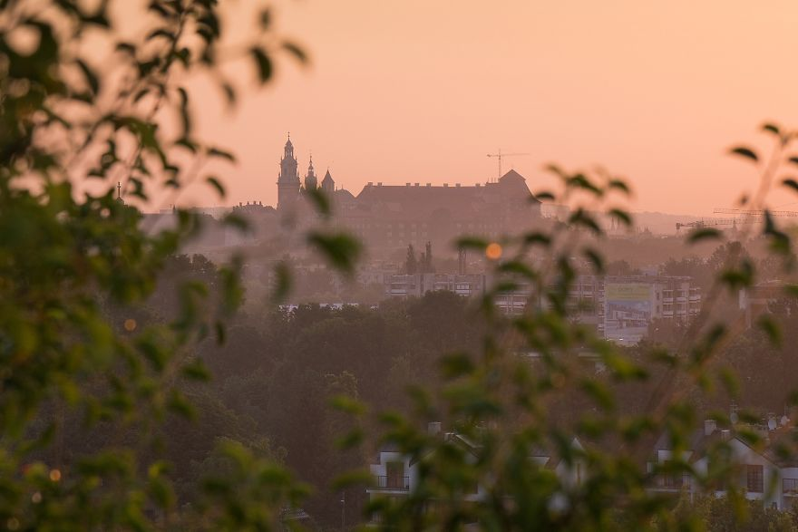 The Sunrise With A View Of Wawel In Krakow