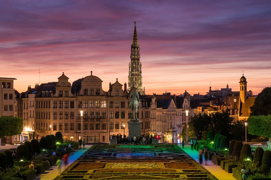 Brussels After Sunset Watched From The Mont Des Arts