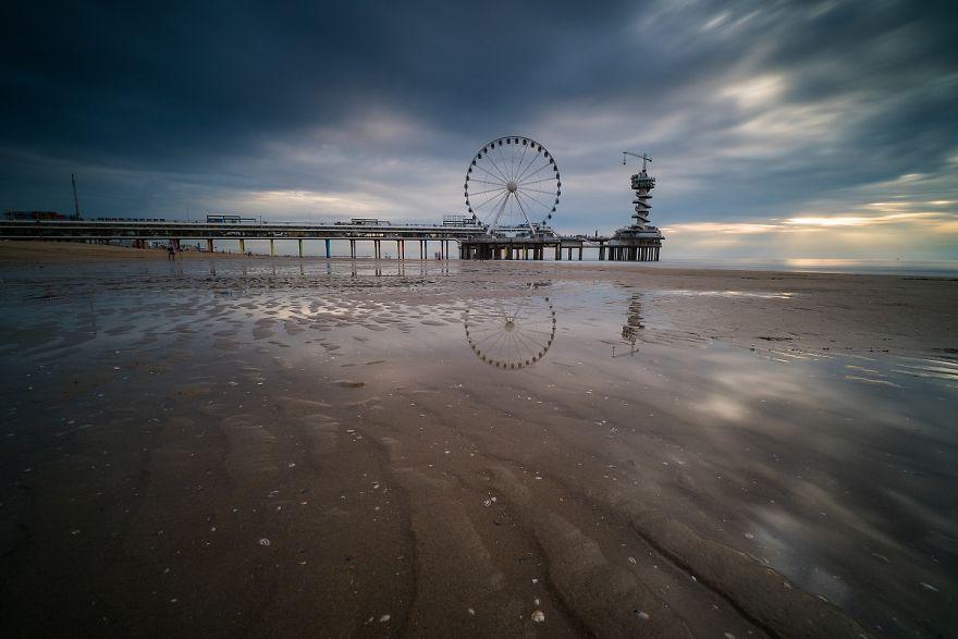 Cloudy Evening On The Beach At Scheveningen In The Hague