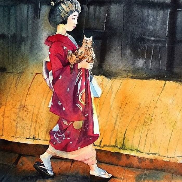 Geisha And The Cat
