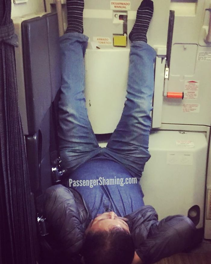 """Dude Is Kicked Back On A Flight Attendant Jumpseat With His Legs Propped Up On The Door All Like """"Come On Weekend"""""""