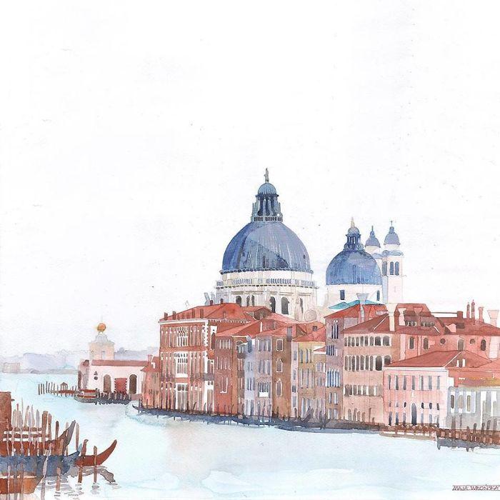 Watercolors Of Venice By Maja Wrońska