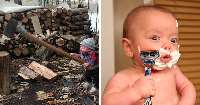 Dad Makes His Premature Baby Do Manly Things, And The Result Is Hilarious (OC)