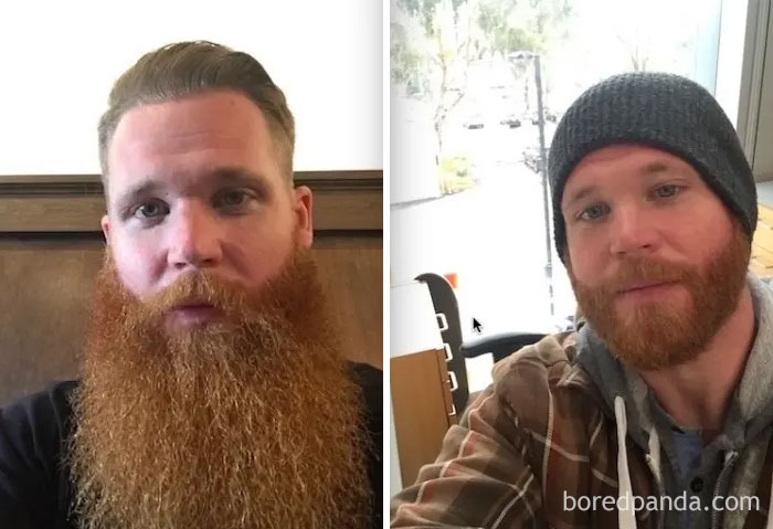 Trimmed My 4 Year Beard Down For Work. Left 4 Years And Right My New Trim