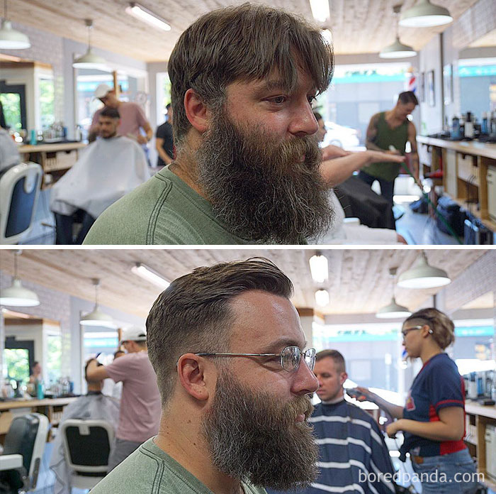 Before And After Haircut And Beard Trim