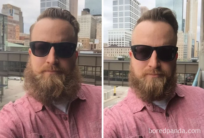 Got My First Done-By-A-Professional Beard Trim. Here's A Before And After