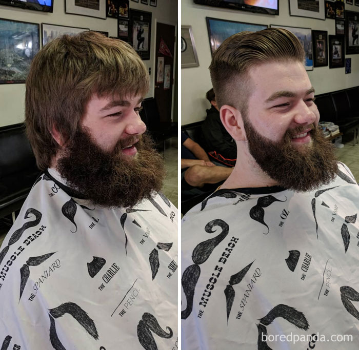 This Guys Beard Was Epic! A Nice Little Before And After I Did At Work Today