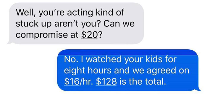 Mom Refuses To Pay Babysitter Because She 'Gets Free Ice Cream And Day Of Fun', So She Shows Her 'Deleted' Texts