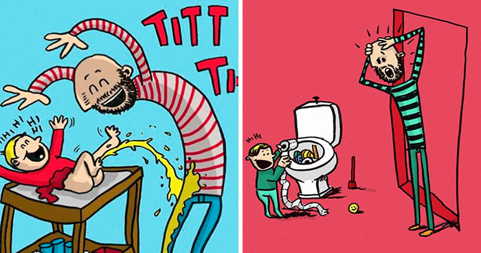 Norwegian Dad Takes Paternity Leave And Illustrates What It's Like To Raise Two Children