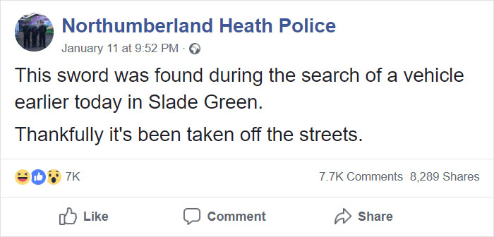 Uk Police Post About A Sword Taken Off The Streets Internet Can T