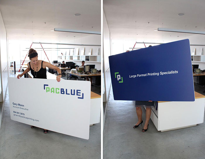 Oversized Business Cards Made To Promote PacBlue Printing's High Quality Large Format Printing Capabilities