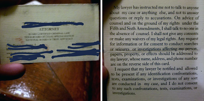 This Attorney's Card Has A Statement Inside That Protects Your Rights And Gets Them Business