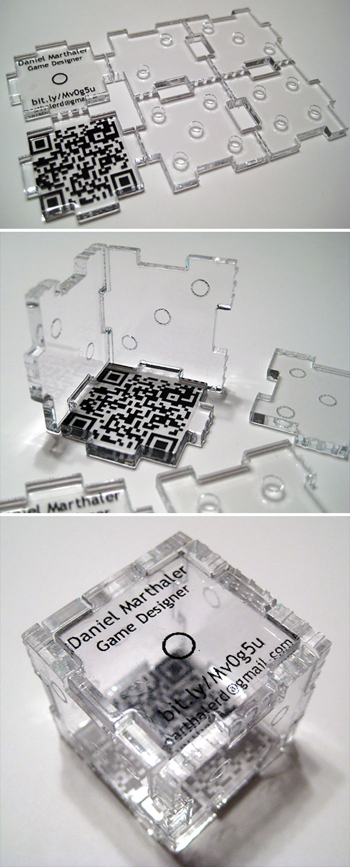Game Designer's Business Card Which Can Be Built Into The Rolling Die