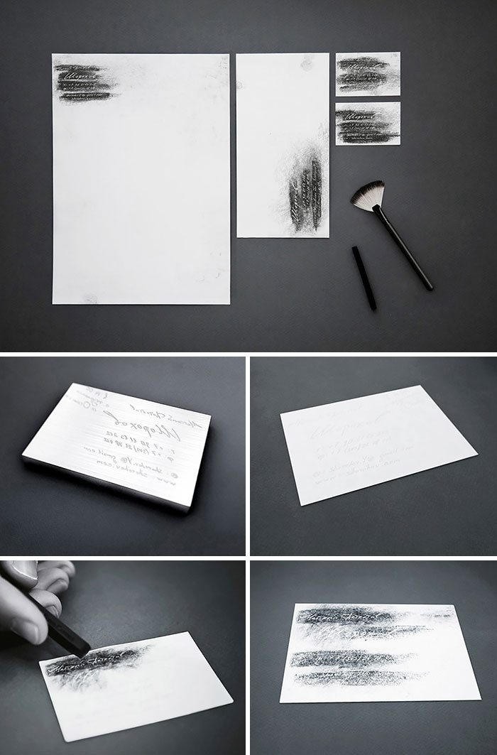 """Use Your Pencil And """"Dust For Fingerprints"""" If You Want To Read The Business Card Of A Private Detective Y. Shorohov"""