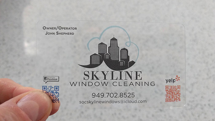 My Window Cleaner's Transparent Business Card