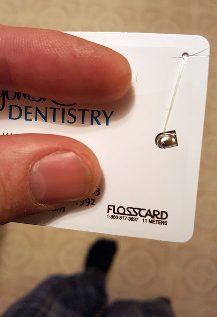 This Dentist Office's Business Card Has 11 Meters Of Floss Built In