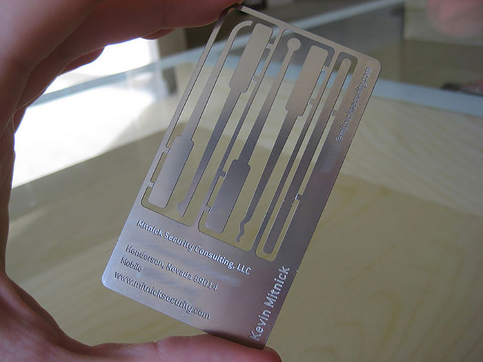 Legendary Computer Hacker Kevin Mitnick's Business Card Is Actually A Lock Picking Set