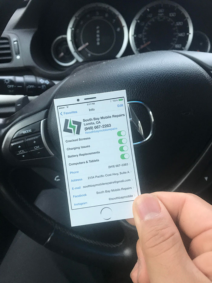 This Cellphone Repair Shop's Business Card Is Like A Cellphone